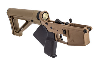 Aero Precision featureless complete lower receiver with Magpul fixed stock and FDE Cerakote finish