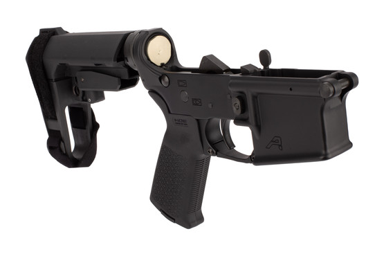 Aero Precision AR15 Complete Pistol Lower Receiver features an SBA3 pistol arm brace