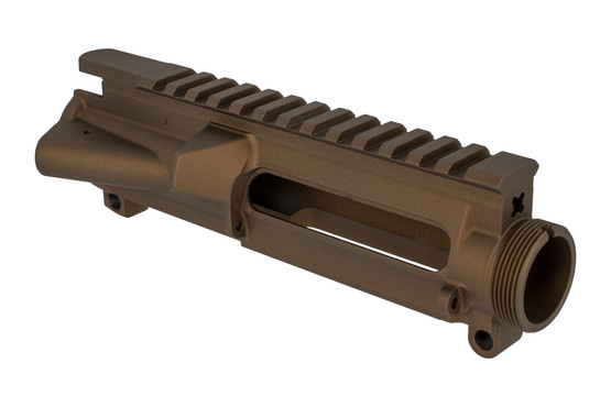 The Aero Precision AR15 stripped upper receiver features a burnt bronze Cerakote finish