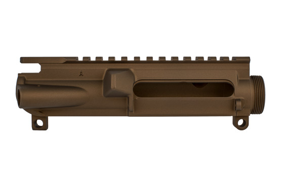 The Aero Precision stripped AR15 upper receiver with burnt bronze cerakote finish is forged from 7075-T6 aluminum