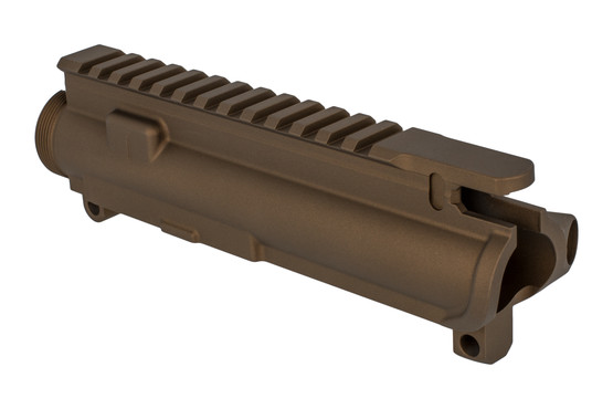 The Aero Precision stripped upper in Burnt Bronze features an M4 flat top picatinny rail
