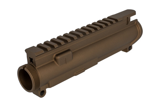 The Aero Precision stripped AR upper receiver in burnt bronze is compatible with Mil-Spec parts