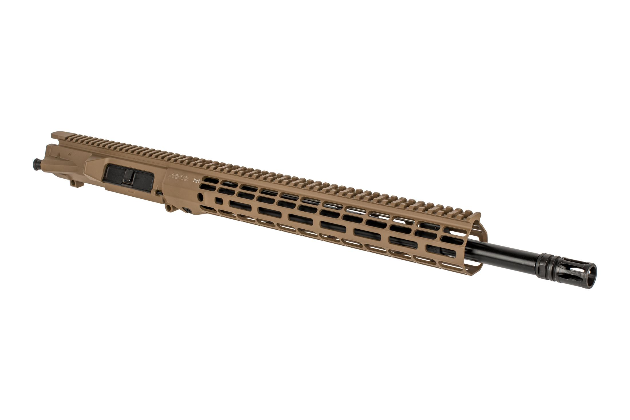 Aero Precision 18 FDE M5 barreled upper receiver with .308 chamber, mid-length gas system, and Atlas R-ONE M-LOK rail.