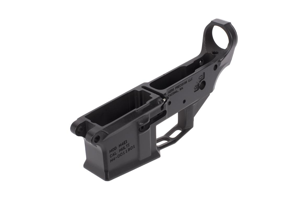 The Aero Precision M4E1 stripped lower receiver is forged from 7075 aluminum