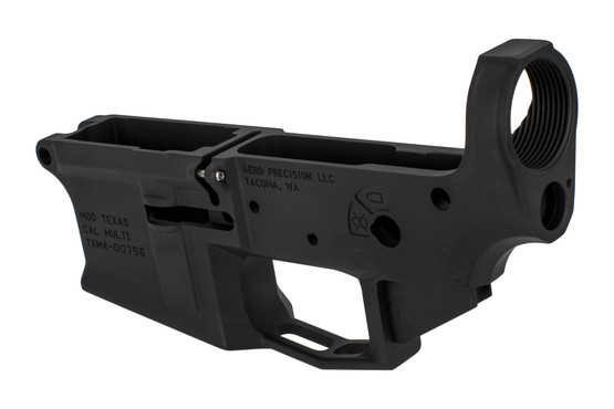 Aero Precision stripped M4E1 AR lower receiver with threaded tension screw and threaded bolt catch pin