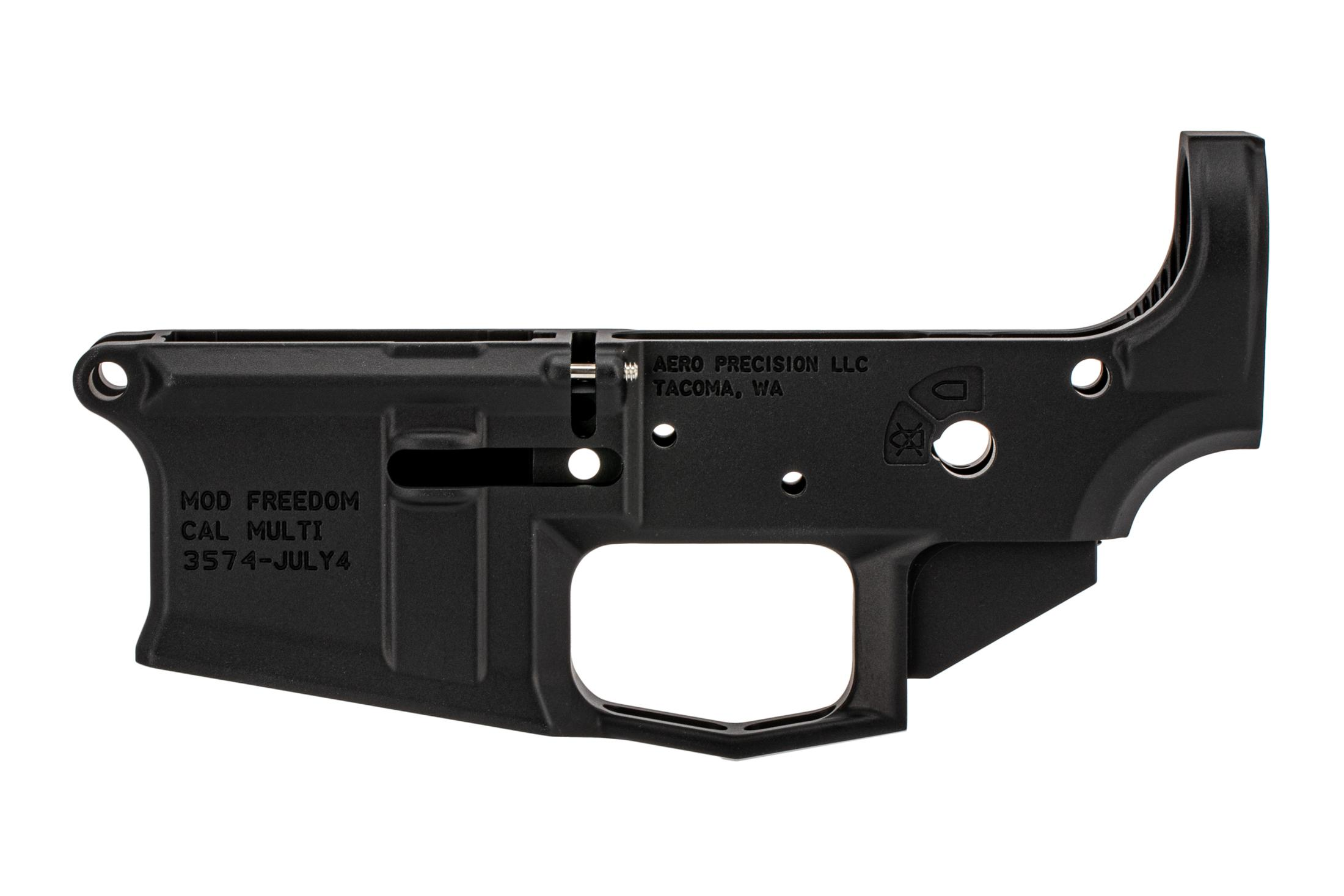 Aero special edition stripped lower for AR-15 features a flag engraving and black anodized finish