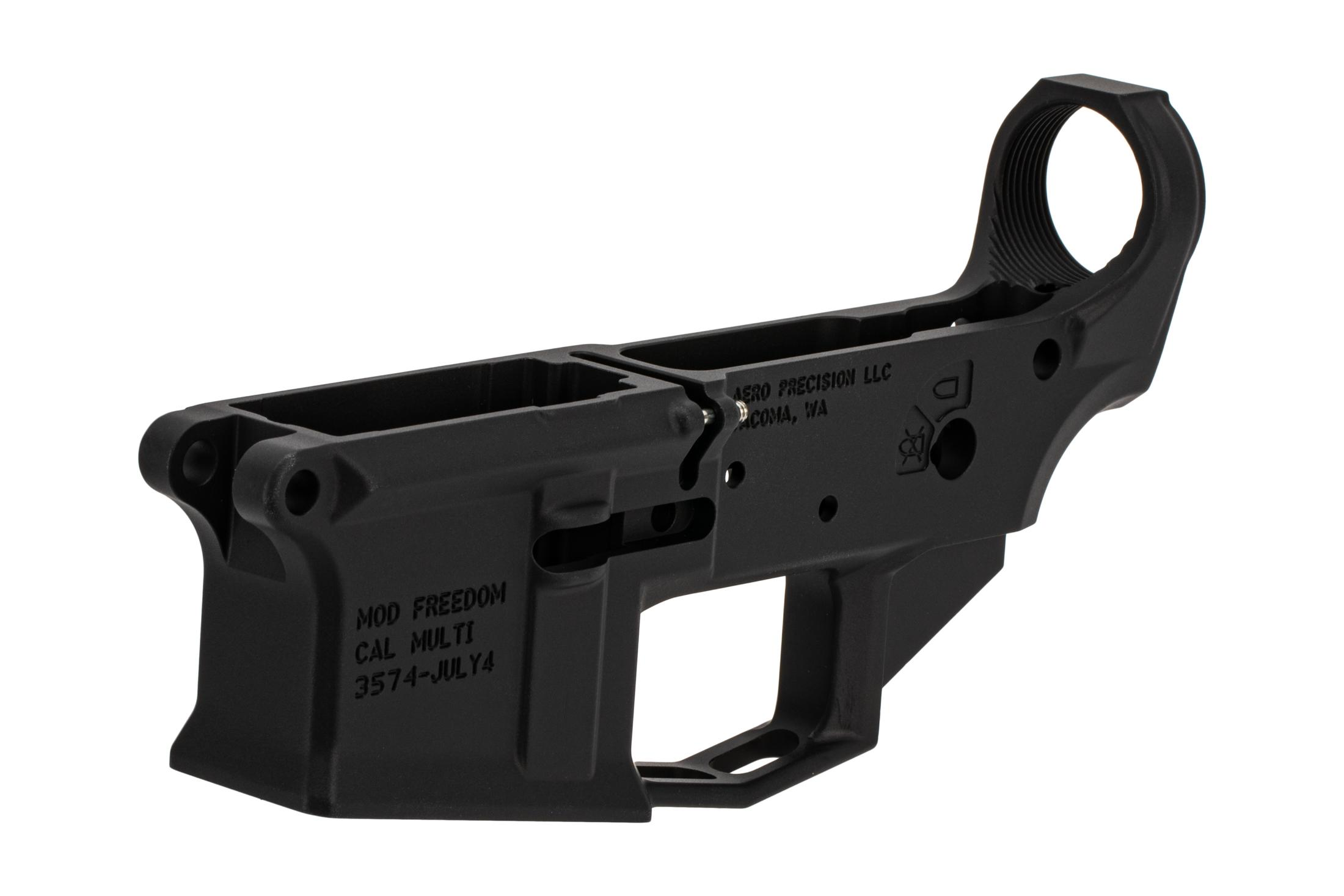 Aero Precision black M4E1 stripped special edition AR 15 lower receiver is compatible with most MIL-SPEC receivers and parts.