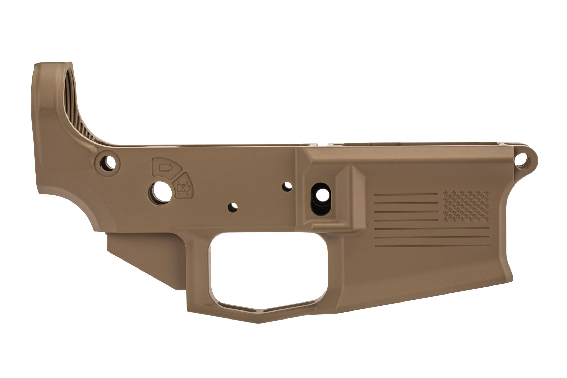 Aero Precision special edition M4E1 stripped AR15 lower with freedom engraving, fde finish, and MULTI caliber marking