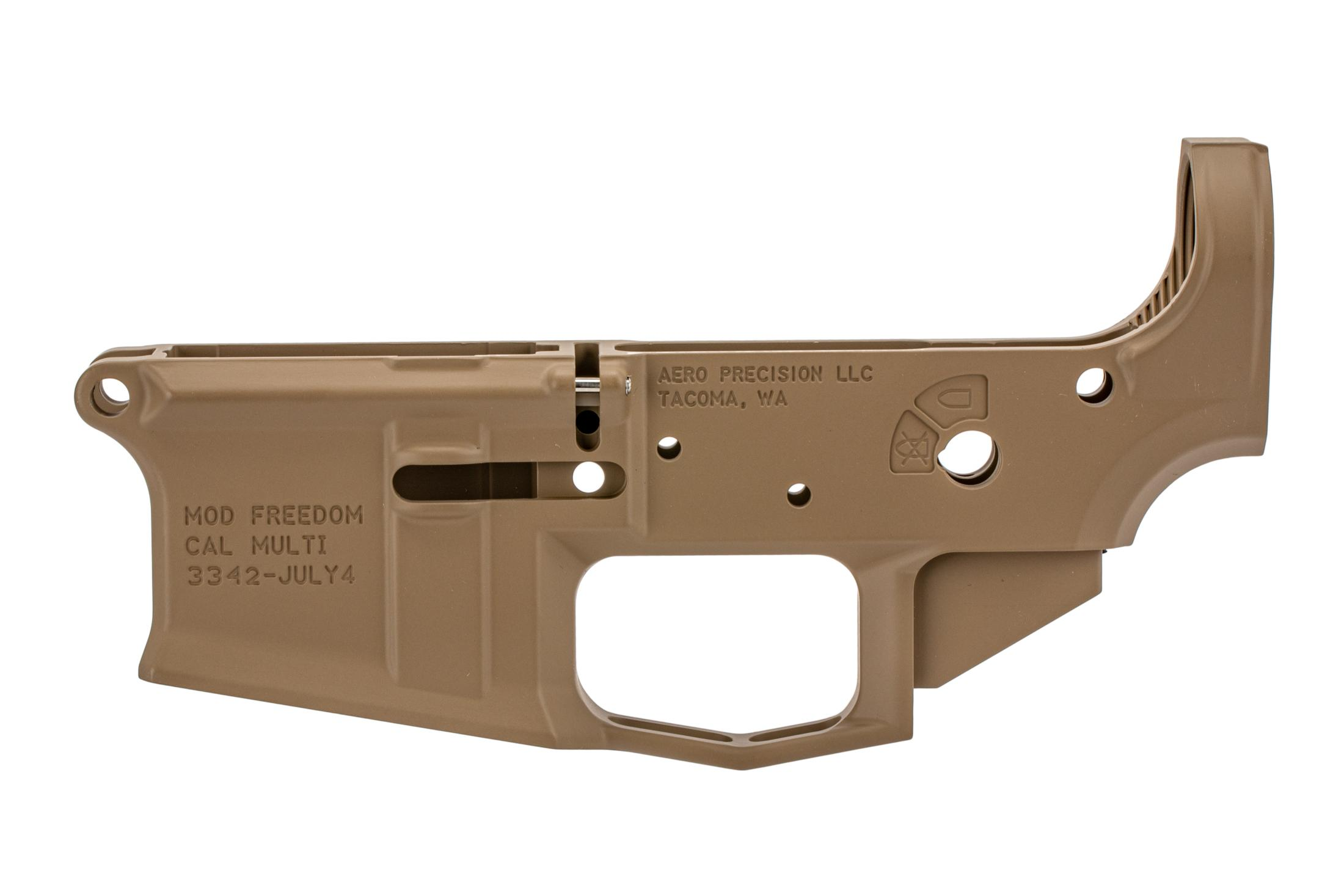 Aero special edition stripped lower for AR-15 features a flag engraving and flat dark earth anodized finish