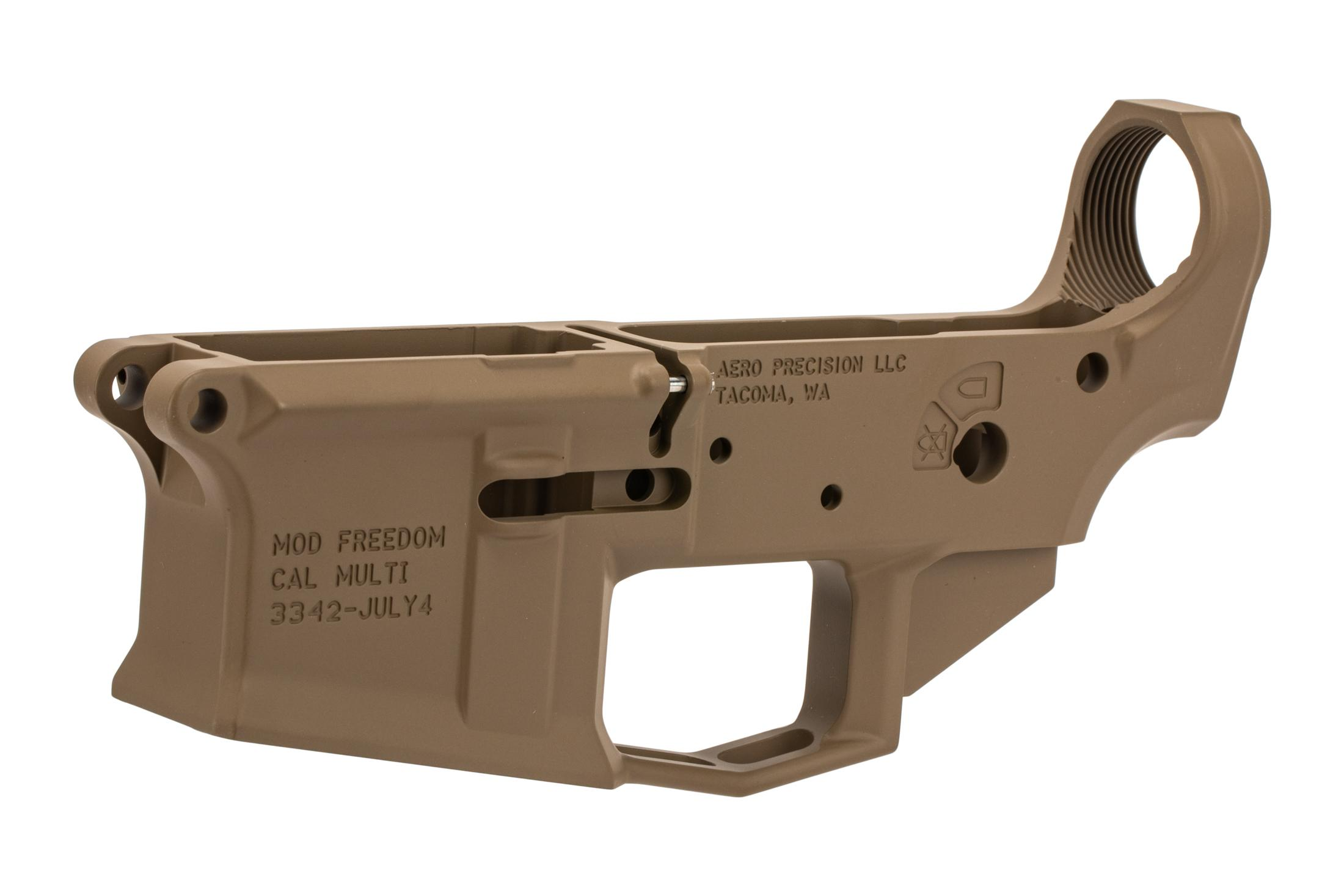 Aero Precision fde M4E1 stripped special edition AR 15 lower receiver is compatible with most MIL-SPEC receivers and parts.