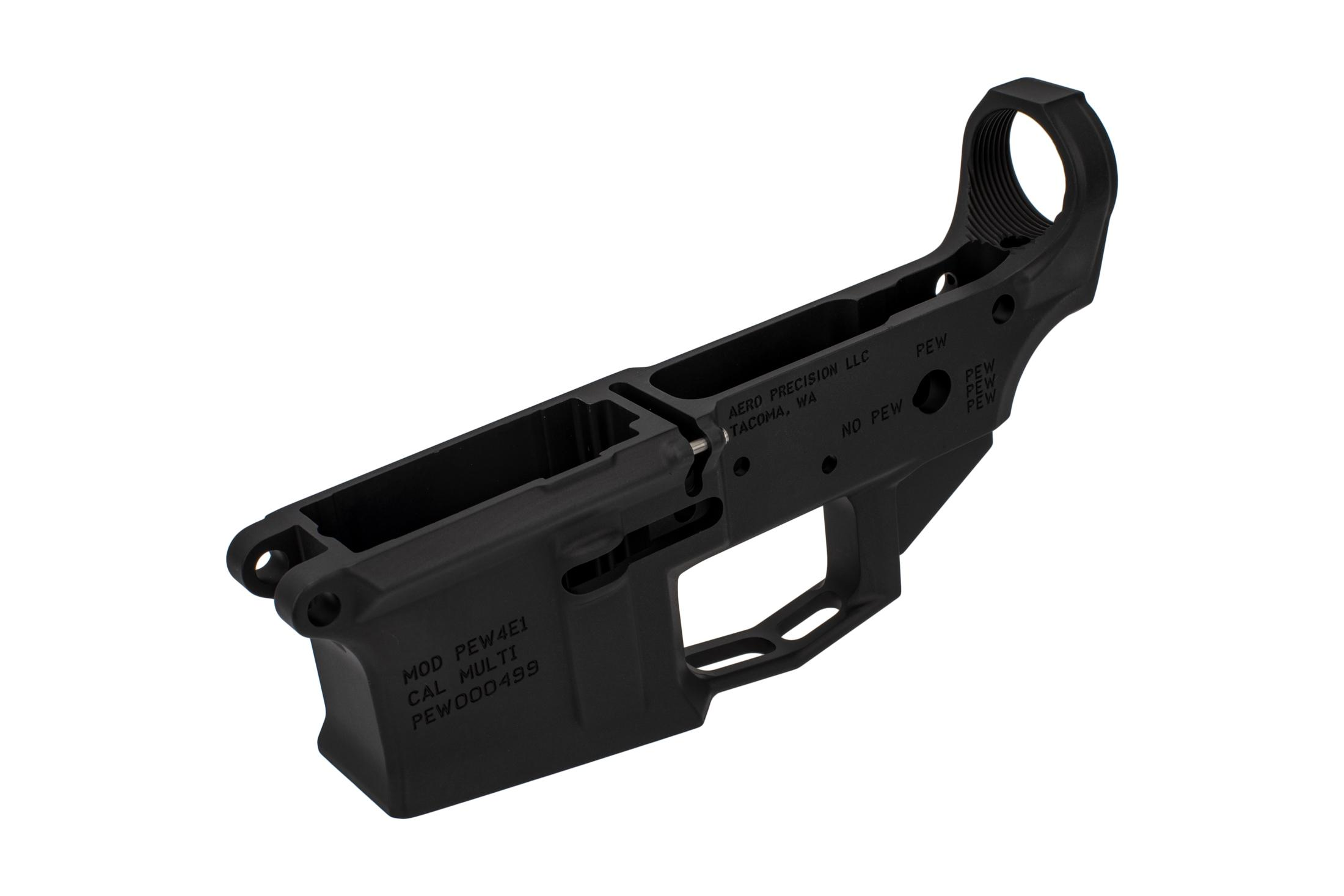 The Aero Precision M4E1 PEW stripped lower receiver features a billet design but is forged 7075-T6 aluminum