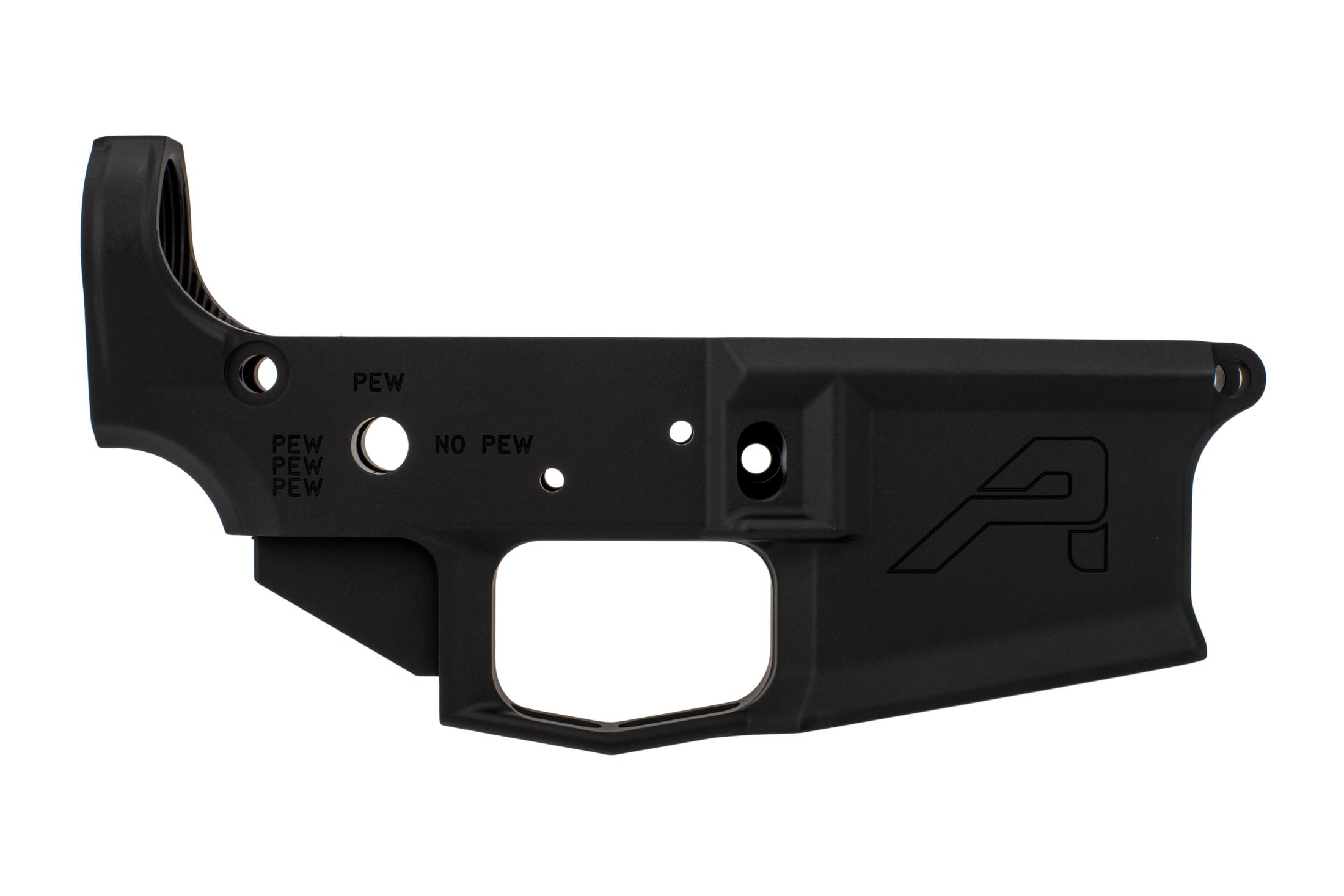 The Aero Precision PEW4E1 stripped lower receiver features a black hardcoat anodized finish