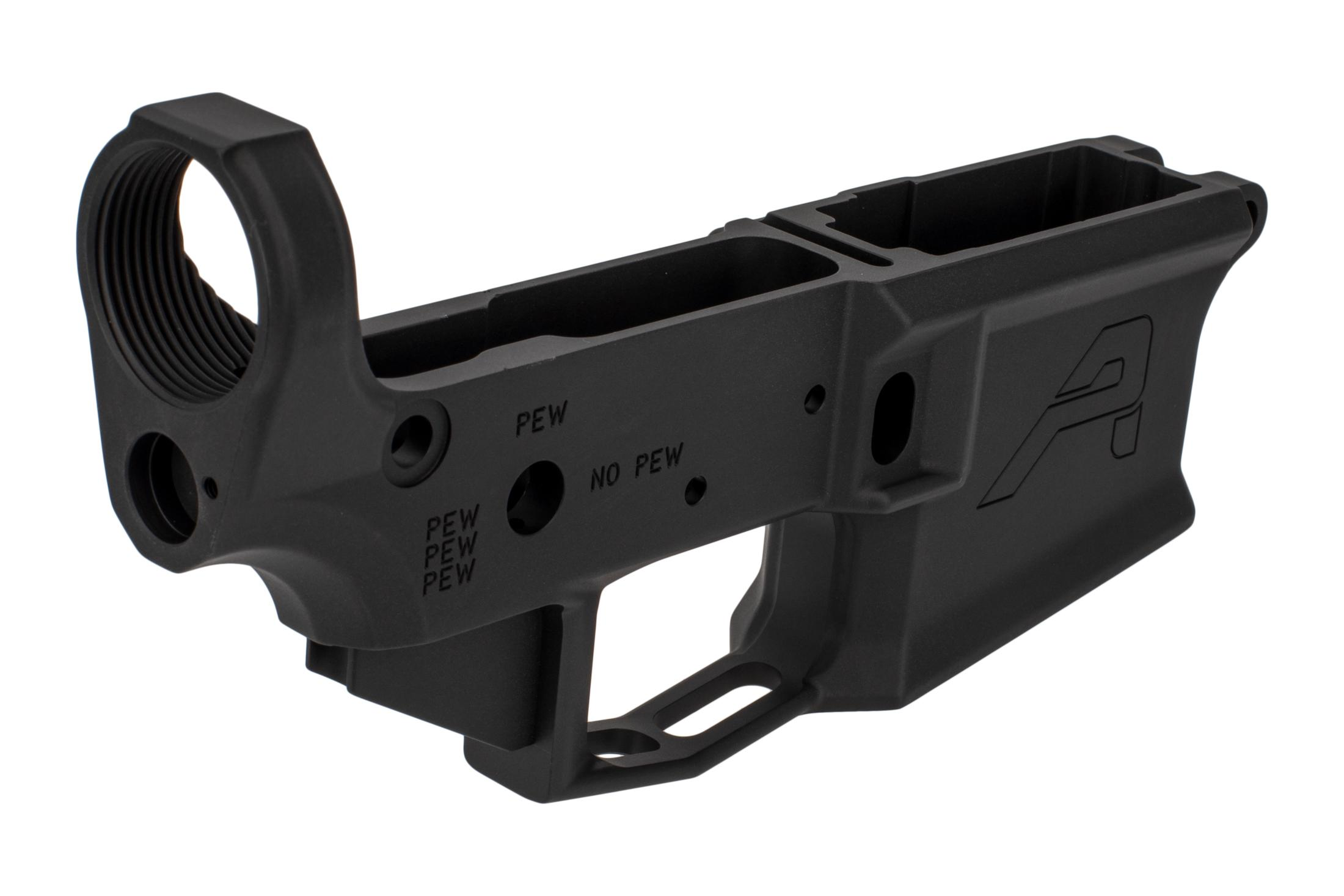 The Aero Precision M4E1 AR15 stripped lower with PEW markings features a threaded rear takedown pin detent hole
