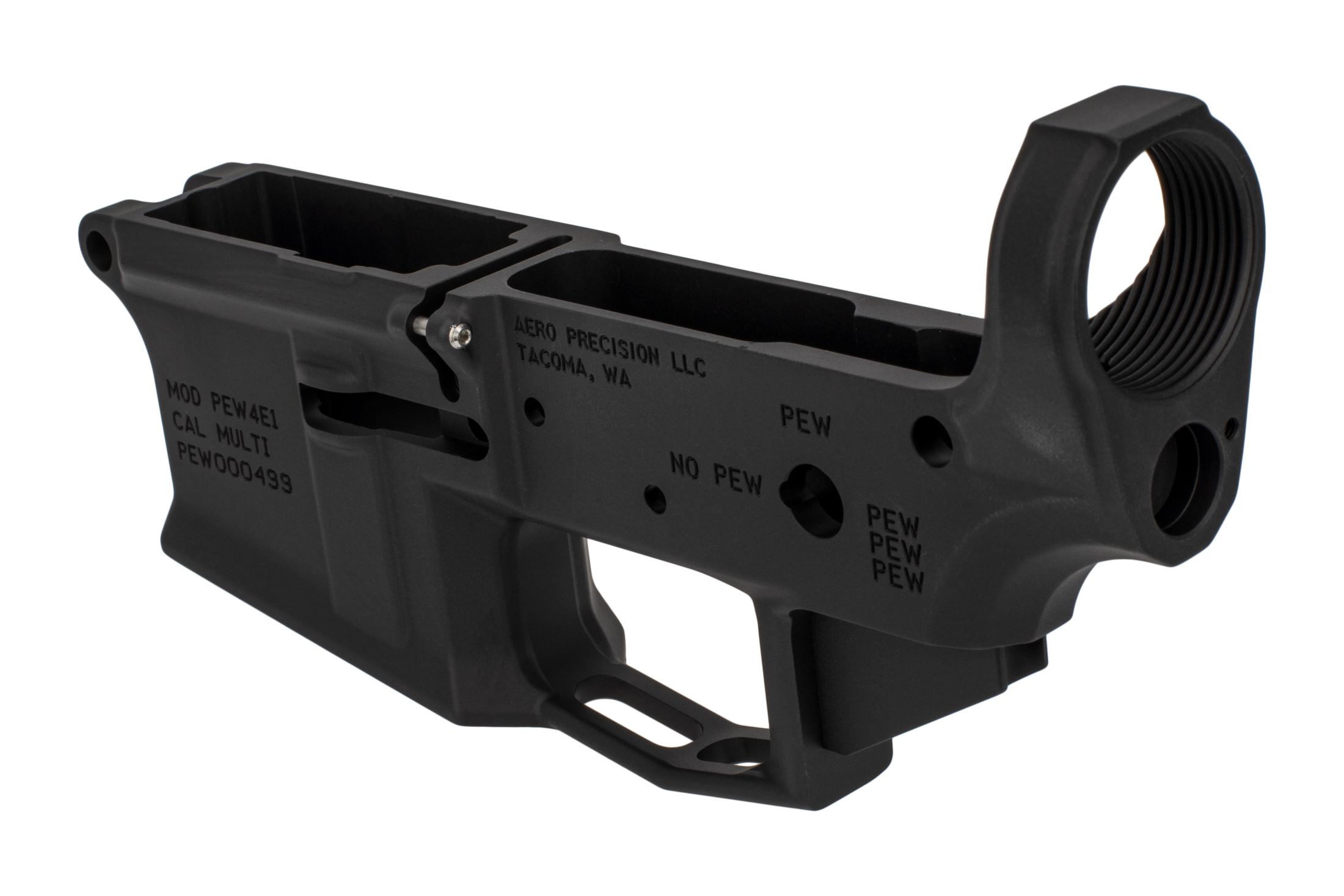 The Aero M4E1 stripped lower features a threaded bolt release detent