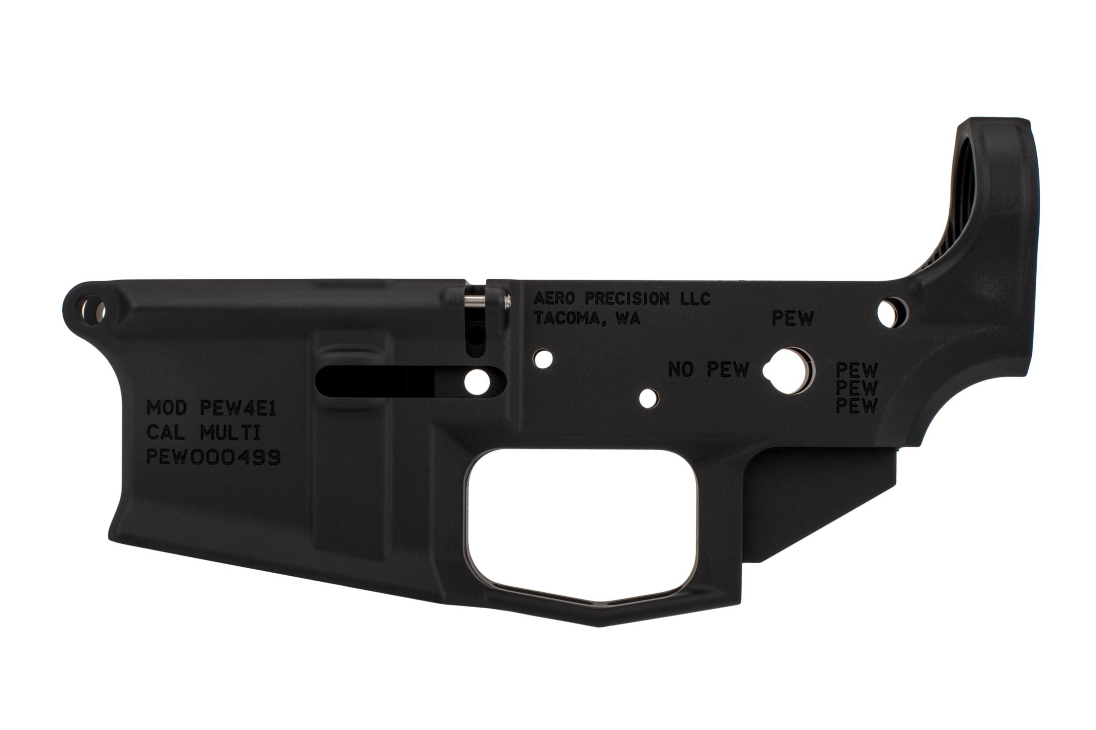 The Aero Stripped lower M4E1 features an integral skeletonized trigger guard