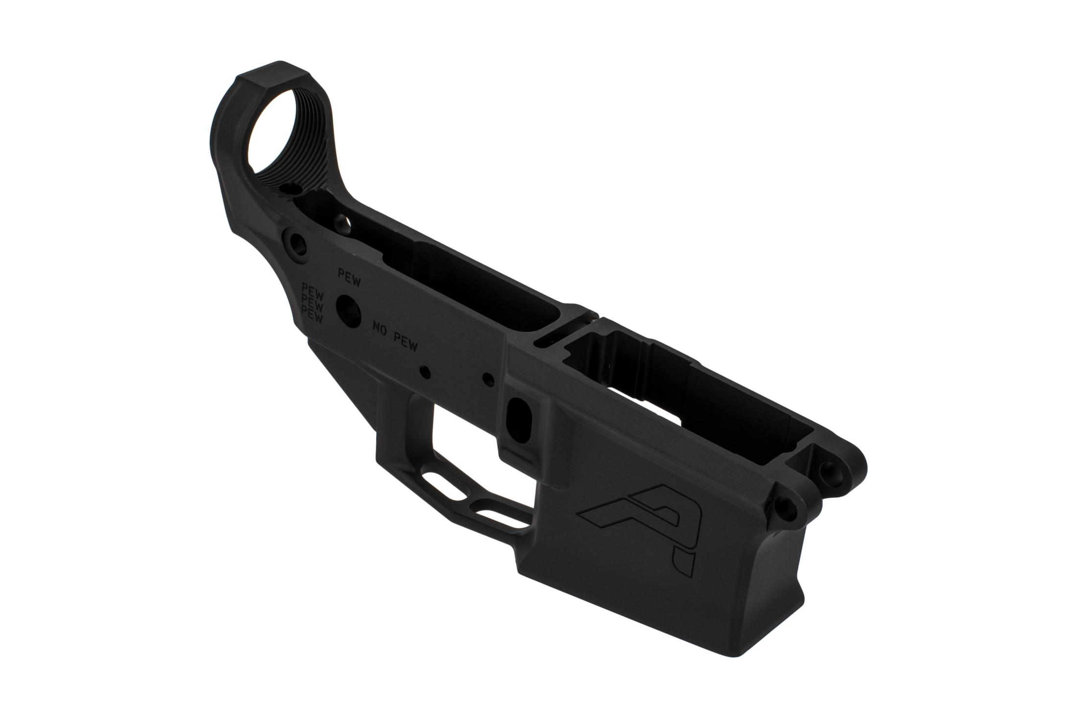 The Aero Precision stripped M4E1 lower receiver features a flared magazine well