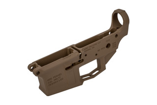 The Aero Precision M4E1 stripped lower receiver features an FDE Cerakote finish