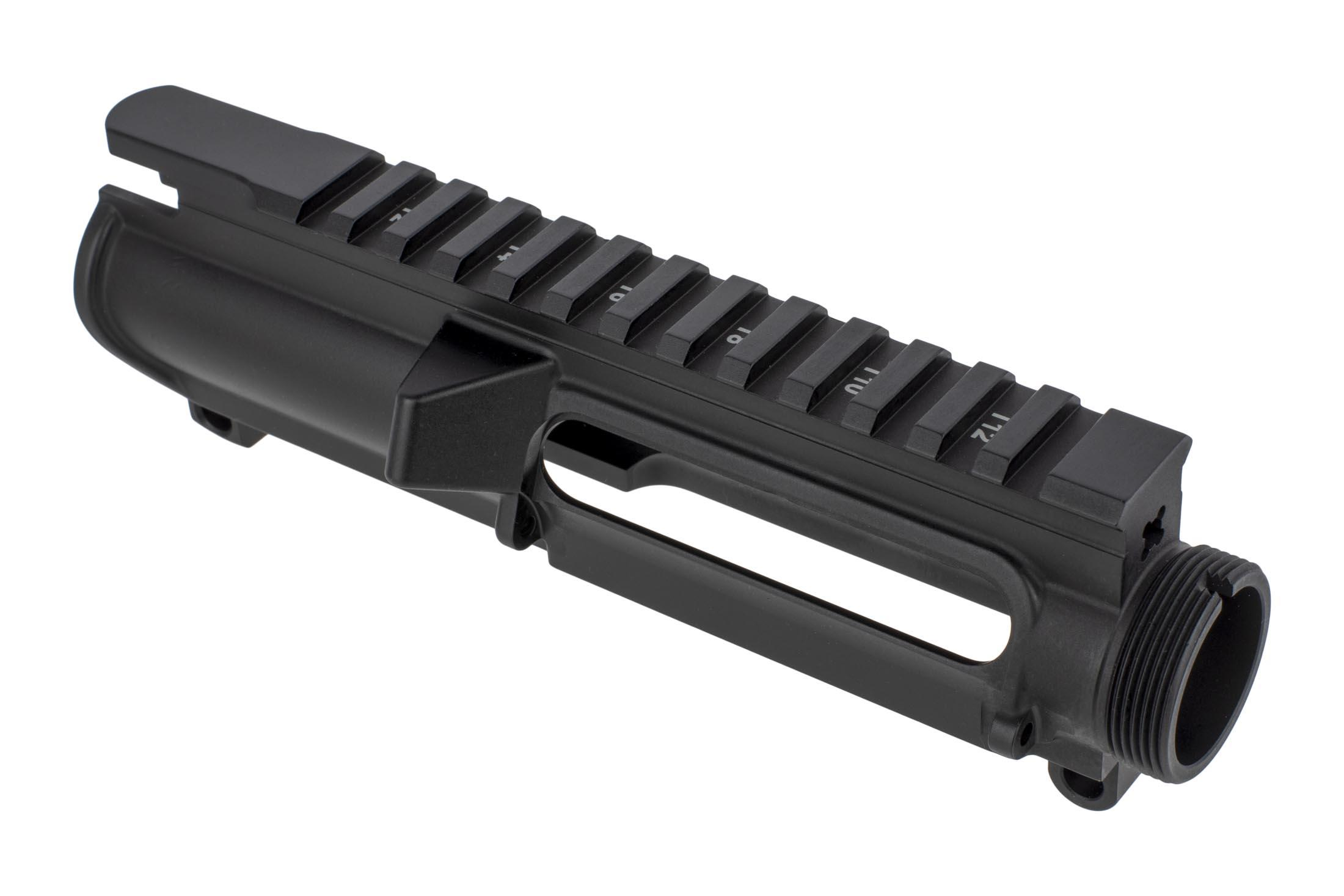 Aero Precision slick-slide stripped AR-15 forged upper receiver with tough black anodized finish and laser engraved T-marks