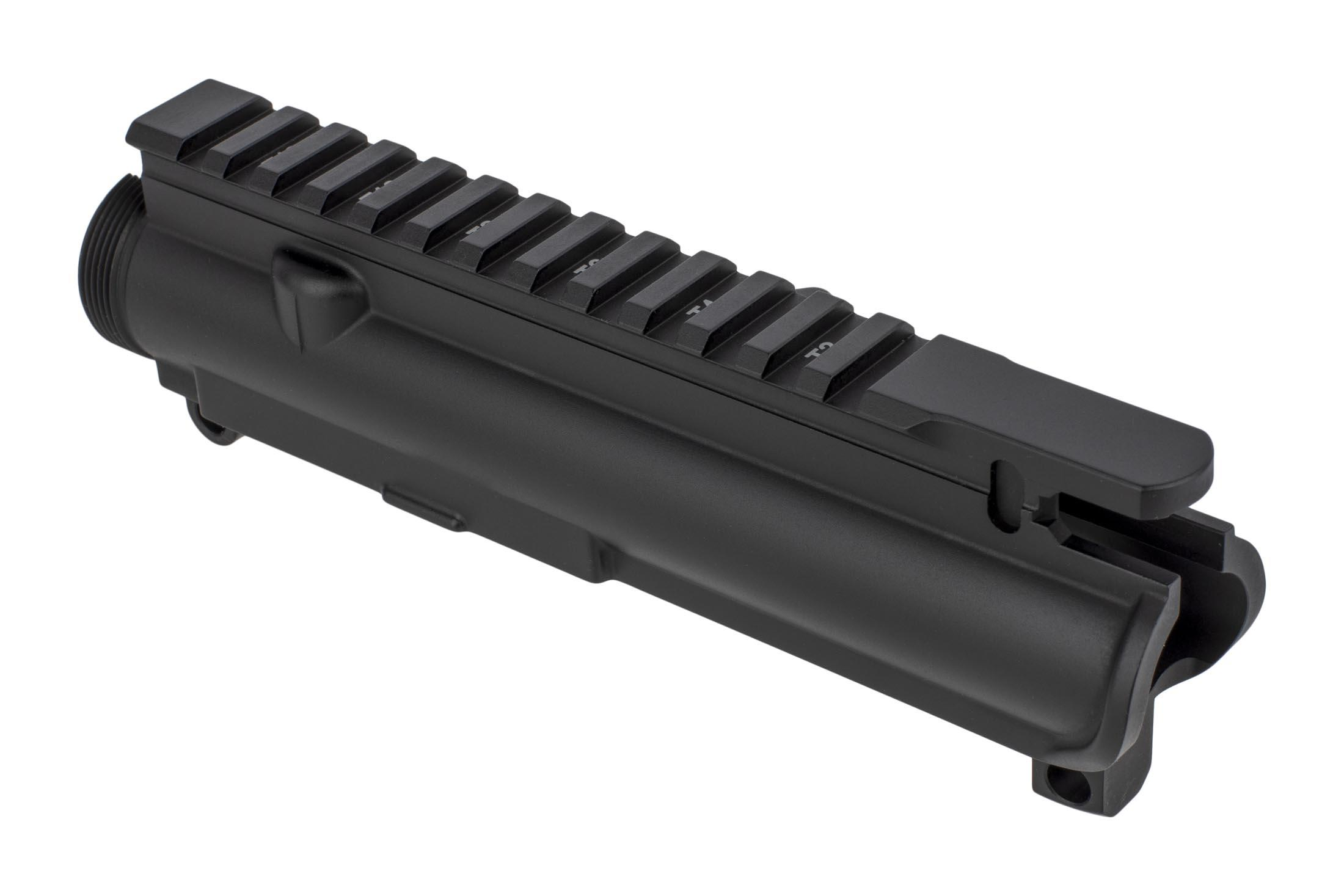 Aero precision stripped slickslide AR 15 upper with laser engraved t-marks features a smooth matte anodized finish