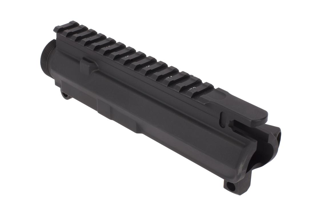 The Aero Precision Stripped M4E1 upper receiver features a durable black anodized finish