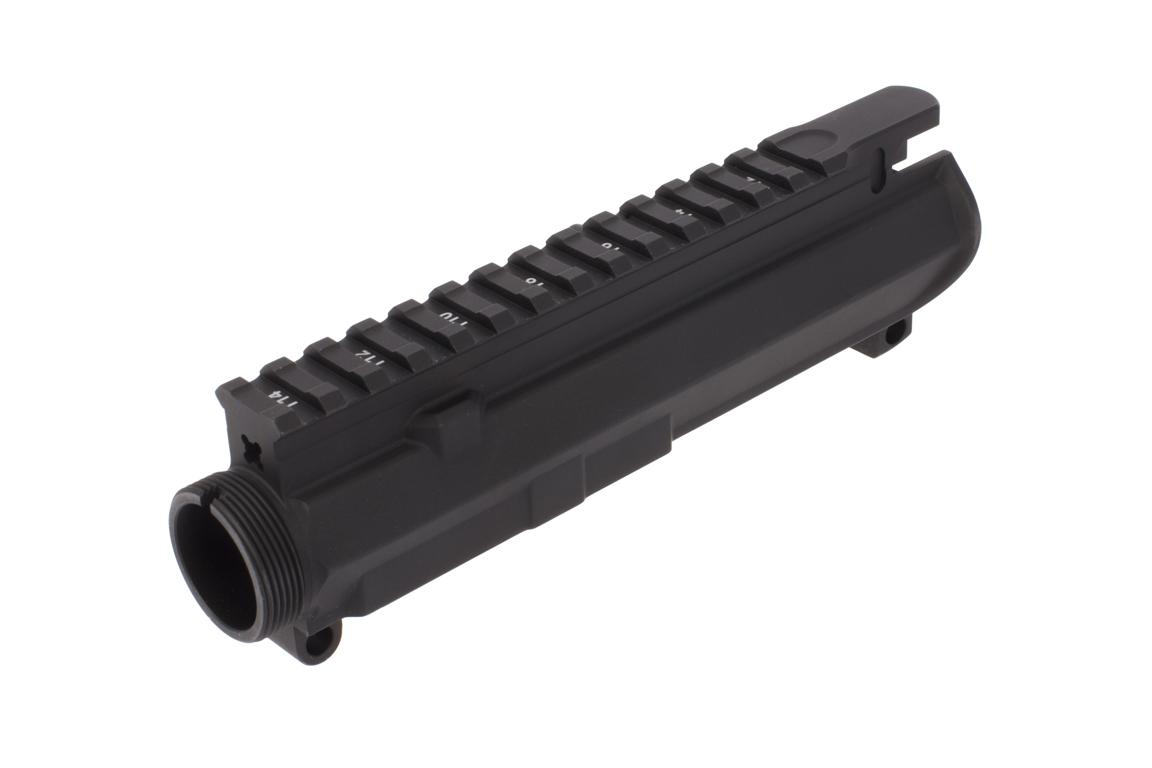 The Aero Precision M4E1 upper receiver features a T-marked flat top picatinny rail