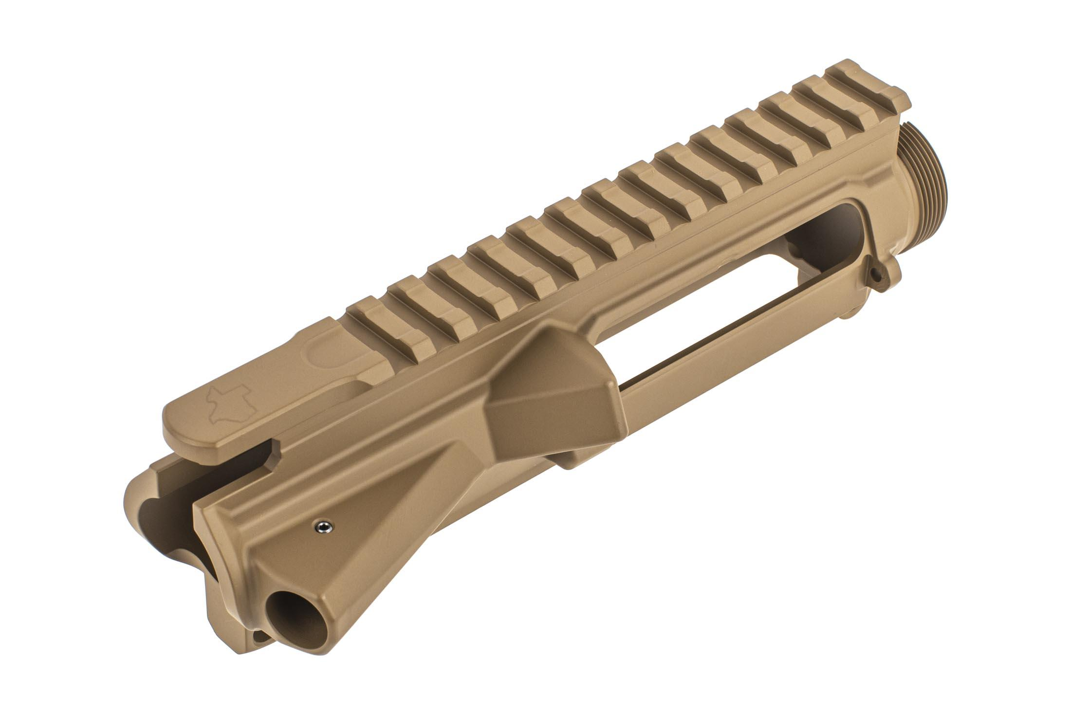 Aero Precision Texas Edition M4E1 threaded stripped upper in FDE features a threaded forward assist retaining pin