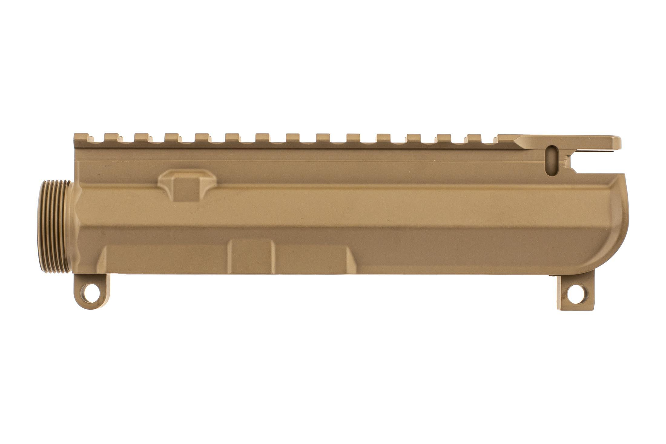 Aero Precision M4E1 threaded upper receiver in FDE is compatible with your favorite parts with a lightened top rail