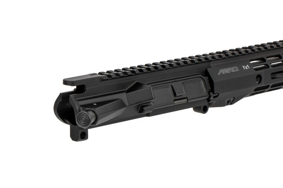 The M4E1 threaded AR-15 barreled upper receiver assembly is hardcoat anodized black