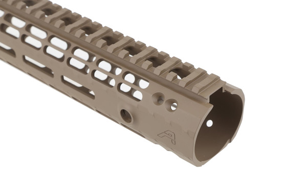 The Aero Precision 12in AR-15 Enhanced M-LOK Handguard has attachment slots for lights, lasers, and tactical accessories
