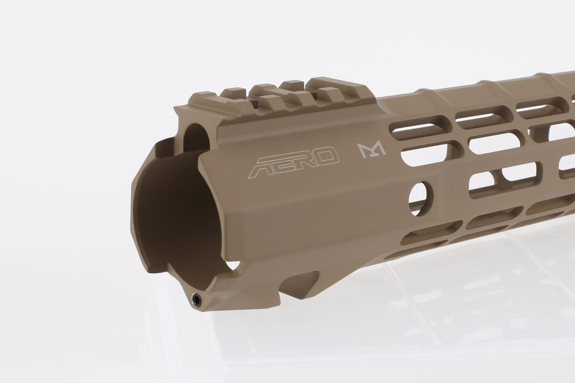 The Aero Precision 12 ATLAS S-ONE FDE Handguard features QD sling swivel slots