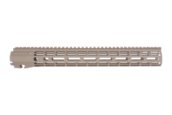 Aero Precision Atlas R-ONE 15in FDE freefloat M-LOK handguard features multiple QD sling swivel sockets and two top-mounted pic rails