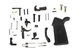 The Aero Precision MOE Complete AR15 Lower Parts kit comes with a pistol grip and fire control group