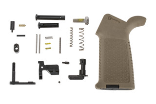 Aero Precision M5 MOE lower parts kit without trigger group or trigger guard featuers a Magpul MOE pistol grip in FDE.