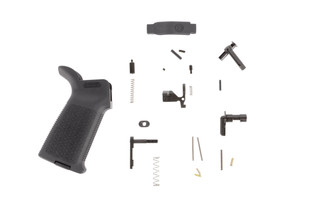 The Aero Precision lower parts kit for AR15 comes with an MOE pistol grip but does not include a trigger