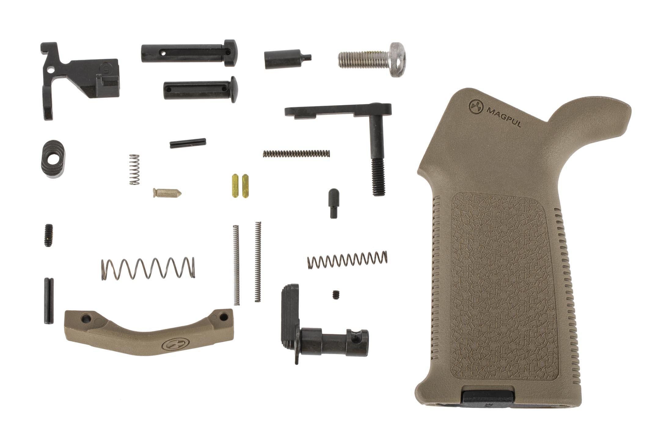 Aero Precision AR-15 MOE lower parts kit without trigger group or trigger guard featuers a Magpul MOE pistol grip in FDE.
