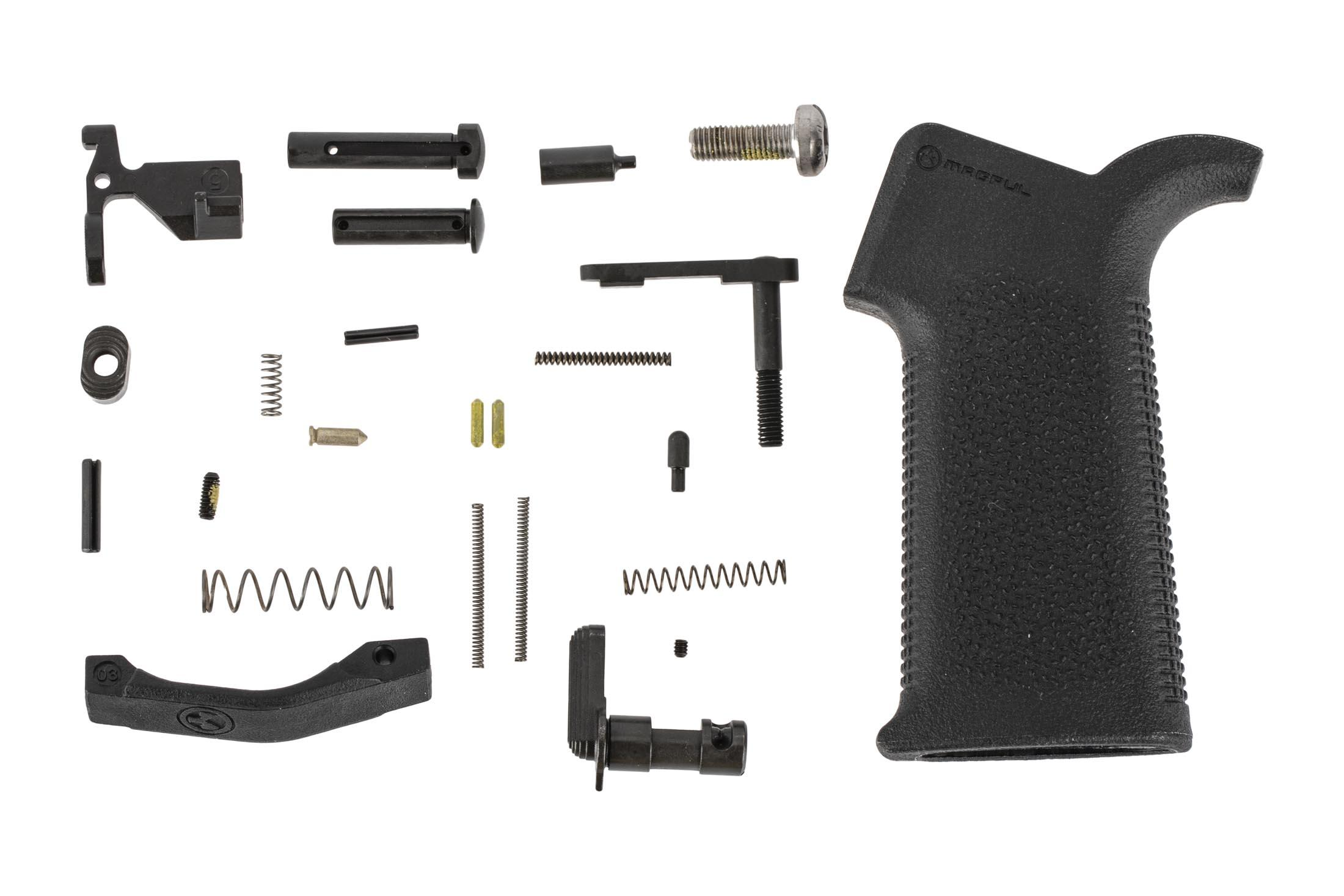 Aero Precision AR-15 MOE lower parts kit without trigger group featuers a Magpul MOE SL pistol grip and trigger guard in black.