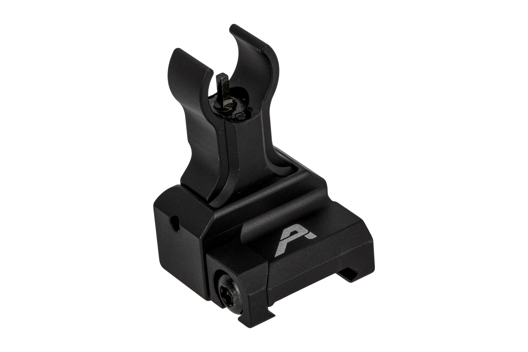 Aero Precision Gen 2 front flip up sight for AR-15 rifles folds flat with black anodized finish.