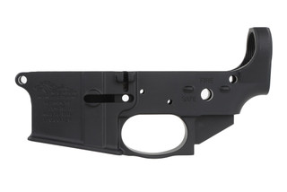 The Anderson Manufacturing AR15 stripped lower receiver features a closed ear design.