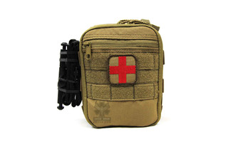 The AR500 EPIK uses the common MOLLE attachment system and contains all the essentials for treating injuries