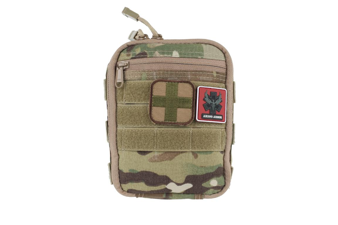 The AR500 IFAK uses the common MOLLE attachment system