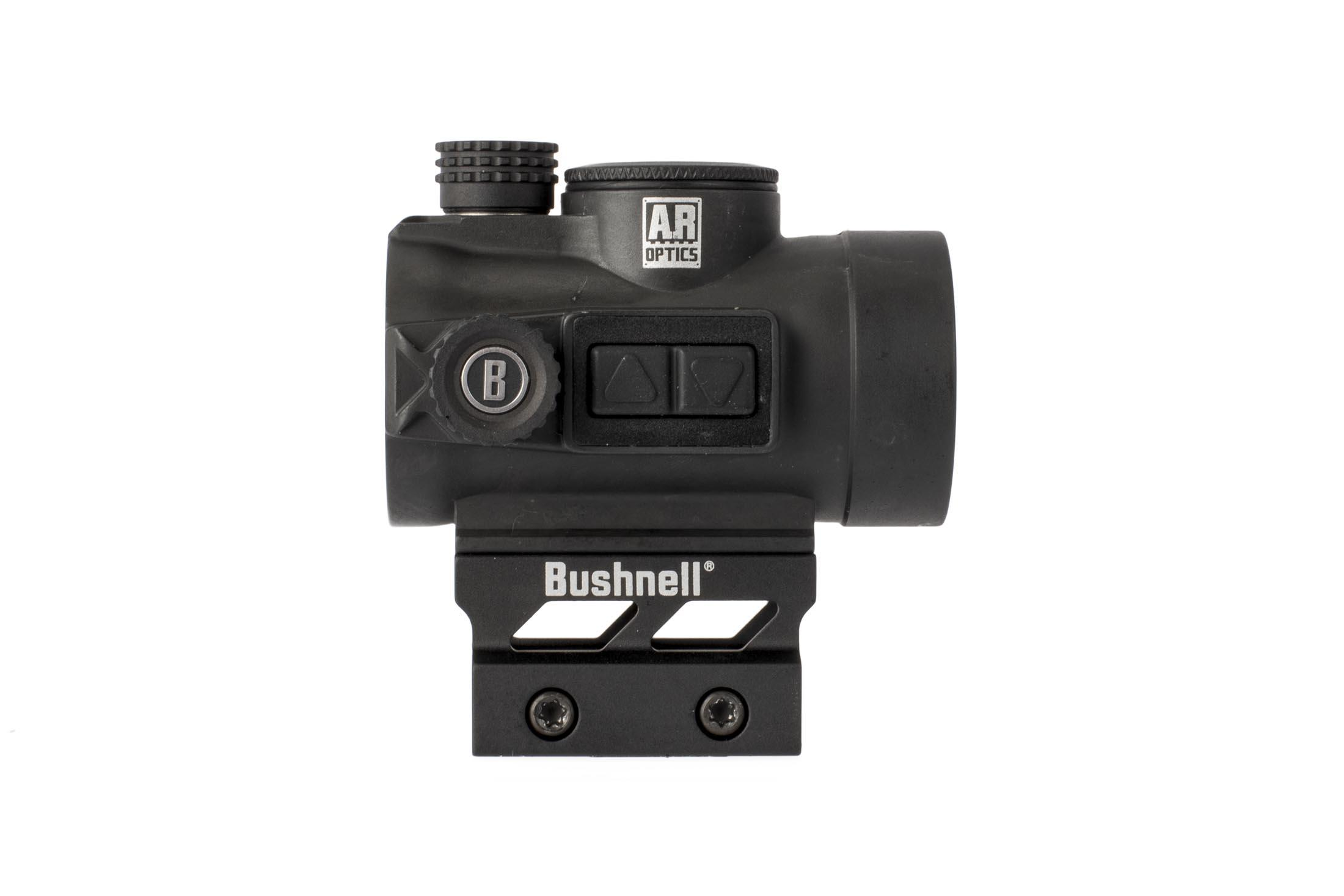 Bushnell TRS26 3 MOA red dot features push button controls on the right side of the optic's body
