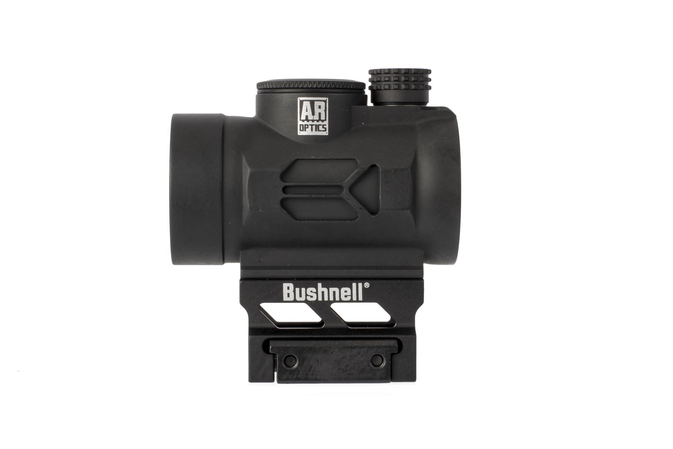 Bushnell TRS26 1x25mm red dot sight is on an AR-height mount and top-mounted CR2032 battery