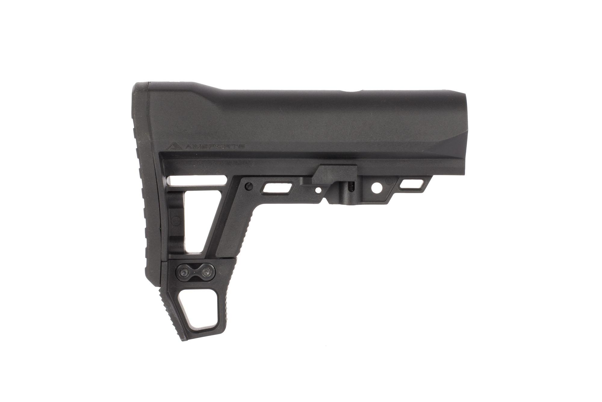 The AimSports advanced modular stock is compatible with Mil-Spec Ar-15 buffer tubes