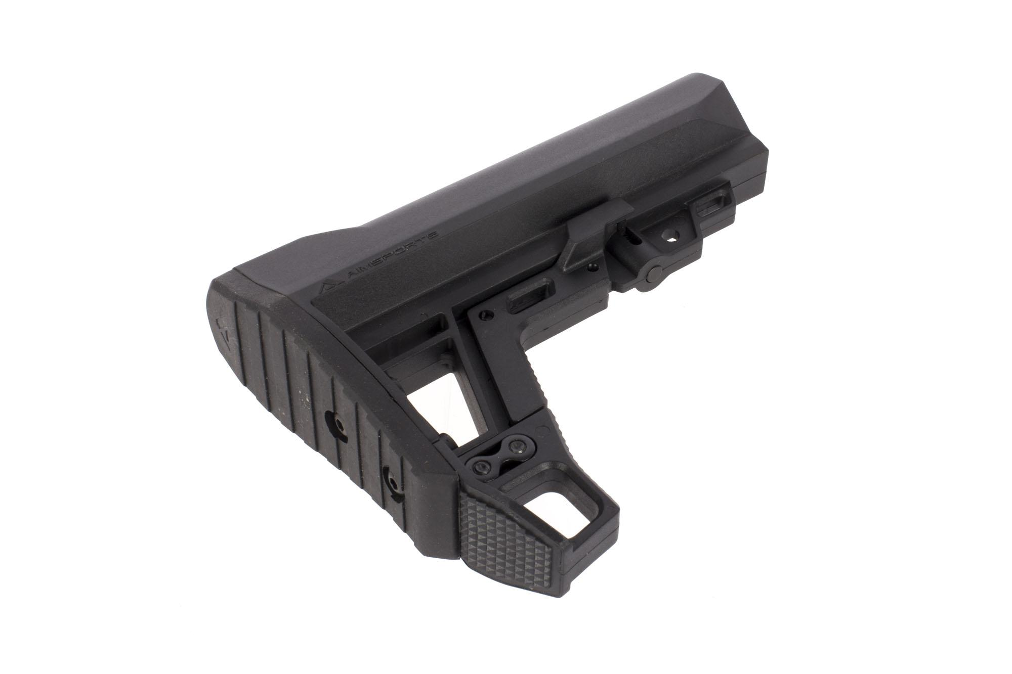 The AimSports AMS AR15 stock features a modular design with removable strike plate