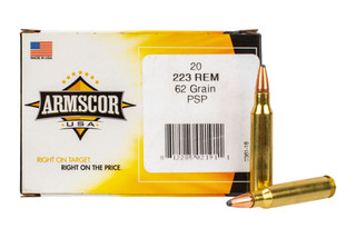 Armscor 223 Remington Ammunition features a PSP bonded 62 grain bullet designed for hunting