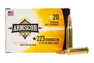 Armscor 223 ammo features a 62 grain FMJ bullet and comes in a box of 20
