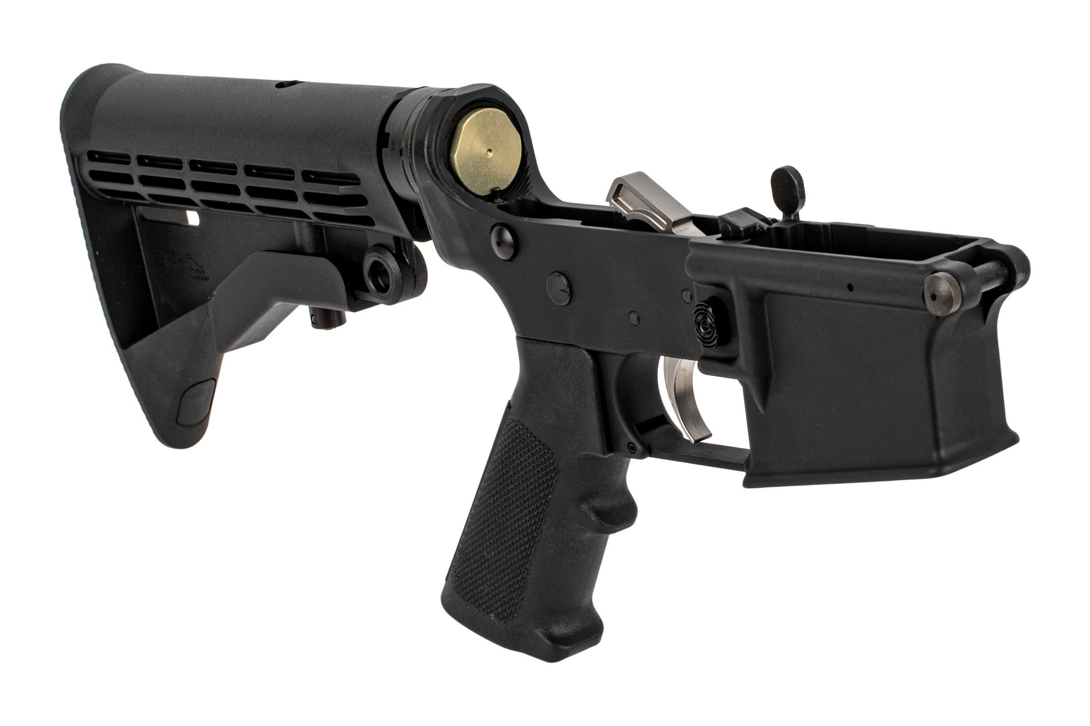 Anderson Manufacturing complete AM-15 lower receiver features a stainless steel trigger, M4 carbine stock, and carbine buffer