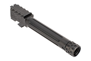 Battle Arms ONE Threaded Barrel for Glock 19 has a threaded steel fluted barrel with a black nitride finish