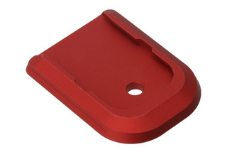 Battle Arms Development Glock mag base plate features a red anodized finish