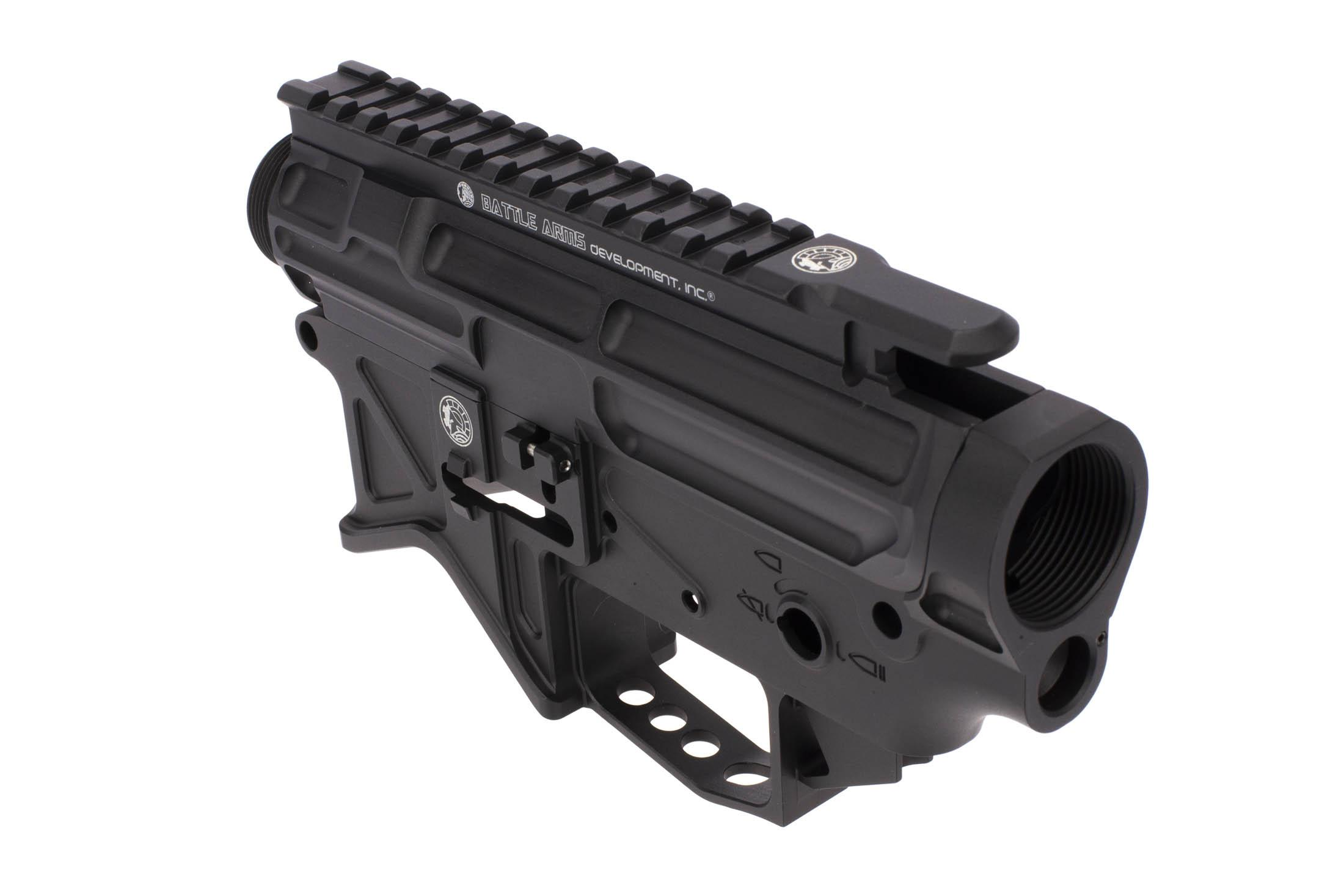 The Battle Arms Development AR15 billet receiver set is extremely lightweight with multiple weight reducing cuts